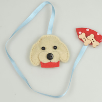 Golden Labrador dog Felt & Ribbon Bookmark, Ideal Gift, Dog Lover, Avid Reader