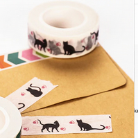 Black Cat, Cute Cat Silhouette Washi Tape,Decorative Tape, Cards, Journals, 10m