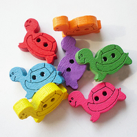 10 x Tortoise colourful Buttons, Wooden colourful two hole buttons, cute & fun