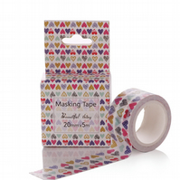Graphic Hearts, 20mm Washi Tape, Decorative Adhesive Tape, spots, stripes,