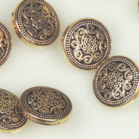 10 x Gold Colour , Metal Type 15mm round button, ornate filigree scroll pattern