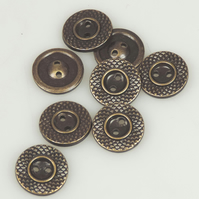 10 x Brass Colour, Metal Type 15mm round button,cross hatch pattern