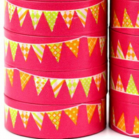 Flag, Bunting Pattern, Washi Tape, Decorative Pennant, Birthday, 15mm, 10m reel