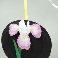 Iris Flower Hand stitched felt decorative hanging