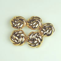5 x Gold Colour, Metal Type 26mm round button, Knot Shaped