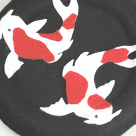 Japanese inspired Hanging, Koi Carp Fish, Hand stitched Felt design
