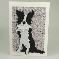 Border Collie Dog Card, Blank inside, Birthday, Greeting, Get well, Housemoving
