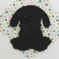 Black Labrador Puppy Dog Card, Blank inside, Birthday, Greeting card