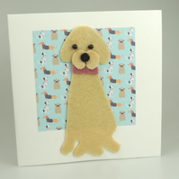 Yellow Labrador Dog Card, Blank inside, Birthday, Greeting, Universal card