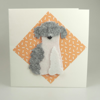 Old English Sheepdog Card, Blank inside, Birthday, Greeting, Universal gift card