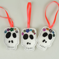 Halloween Skull, Day of the Dead, Fun Felt Decorations set of 3