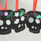 Halloween Skull, Day of the Dead, Fun Felt Decorations set of 3 skulls