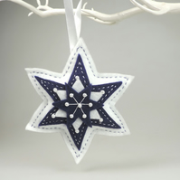 Large Felt Star, White & Navy, Handmade, embellished with faux Pearls
