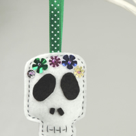 Halloween Skull, Day of the Dead, Handmade Felt Decoration, Twig Tree