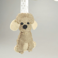 Handmade Felt Miniature Poodle Dog, Hanging Decoration, Twig Tree, Dog Lover