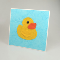 Yellow Felt Rubber Duck Card, Blank inside, Birthday, Greeting, Universal card