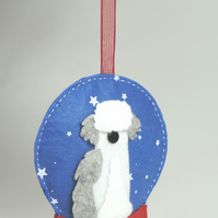 Old English Sheepdog, Felt Snow globe Christmas Decoration, Dog Lovers GIft