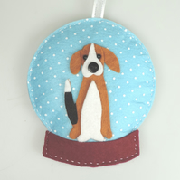 Beagle dog, Handmade Felt Snow globe Christmas Decoration, Hound Dog Lovers GIft