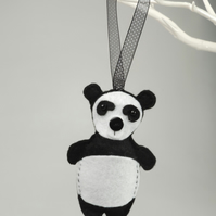 Panda Bear Felt Hanging Decoration, Twig Tree, Felt Handmade Panda Bear
