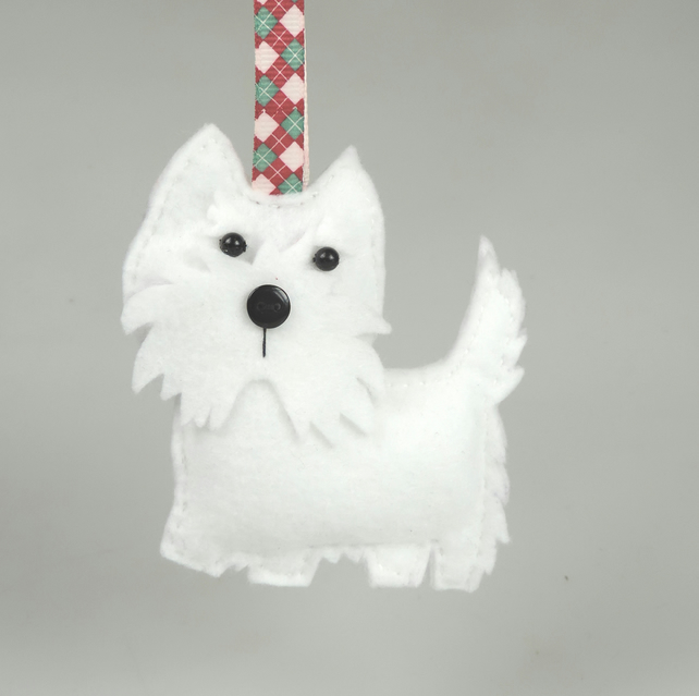 Handmade Felt West Highland White Dog, Decoration, Twig Tree Christmas tree gift