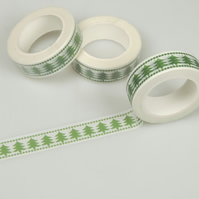 Classic Christmas Tree pattern Washi Tape, Pine Tree Decorative Tape.