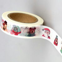 Cute Characters Christmas pattern Washi Tape, Cartoon Tape. Santa, 10m