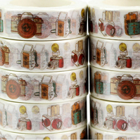 Camera pattern Washi Tape, Drawings of assorted Cameras, Decorative tape, 10m