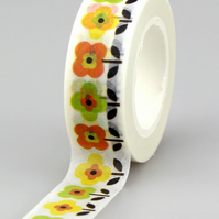 Stylised Spring Flower pattern, Decorative Washi Tape, Cards, Crafts, Journals