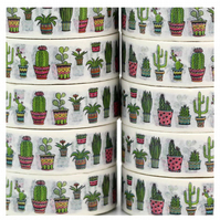 Cacti pattern, Cactus Decorative Washi Tape, Cards, Crafts, Journals, 10m