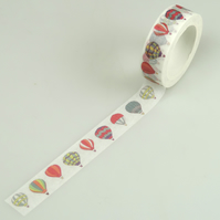 Hot Air Balloon 15mm Washi Tape, Kawaii Decorative Tape, Cards, Journals, Crafts