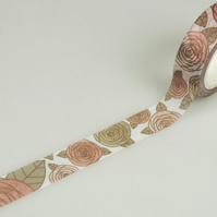 Rose 15mm Washi Tape, Stylised Rose Decorative Tape, Cards, Journals, Crafts