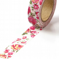 Rose Blooms 15mm Washi Tape, Rose Decorative Tape, Cards, Journals, Crafts