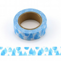 Rain droplets, Washi Tape, water drops, Decorative Tape, Cards, Journal, Crafts,