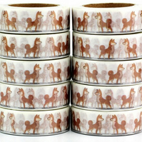 Dog Shiba Inu, Washi Tape, Doggy Decorative Tape, Cards, Journals, 10m