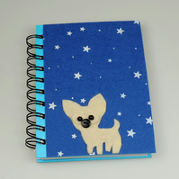 Chihuahua sat in the stars, A6 lined Notebook, Dog Lovers Gift