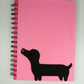 Black Dachshund dog A5 lined Notebook, sausage Dog Lovers Gift