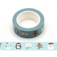 Snowing Kawaii Characters Christmas pattern Washi Tape, Cartoon Decorative Tape.
