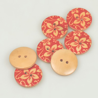Tropical Flower pattern, 25mm, 2.5cm Round wooden buttons, Red Floral