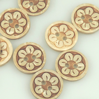 Flower pattern, 15mm,  Round Coconut buttons
