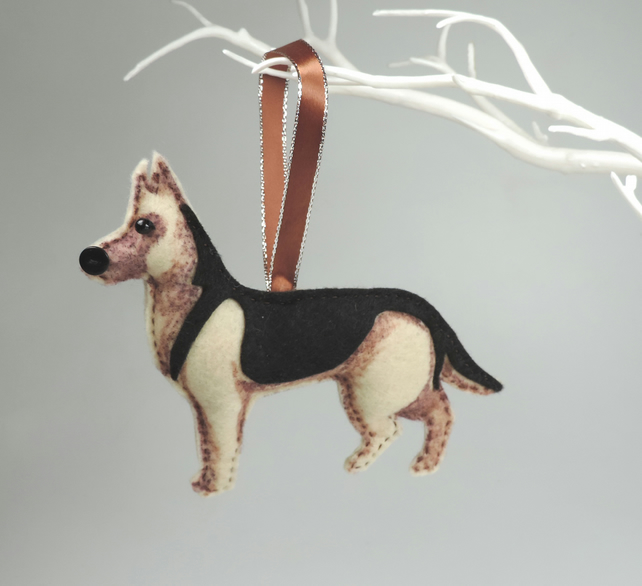 Handmade Felt German Shepherd, Hanging Decoration, Twig Tree, OES