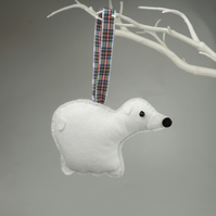 Polar Bear Felt Hanging Decoration, Twig Tree, Felt Handmade white polar Bear