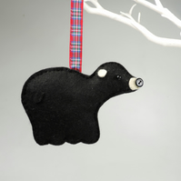 Black Bear Felt Hanging Decoration, Twig Tree, Felt Handmade Grizzly Bear