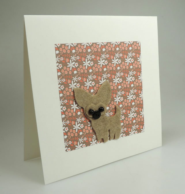 Chihuahua Dog Card, Blank inside, Birthday, Greeting, Universal gift card