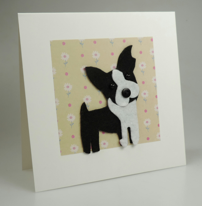 Boston Terrier Dog Card, Blank inside, Birthday, Greeting, Universal gift card