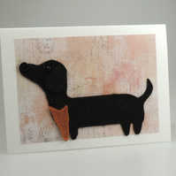 Dachshund Dog Card, Blank inside, Birthday, Greeting, Get well, Sausage Dog
