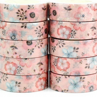 Pink Flower Blooms, Decorative Washi Tape, Cards, Crafts,Tape 5m
