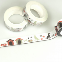 Labrador dog, kennel, bowl pattern Tape, Decorative Washi Tape, Card, Crafts 10m