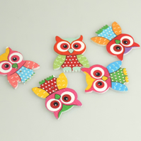 bright Colourful Owl wooden buttons, Craft Supplies, Large Buttons, x 5
