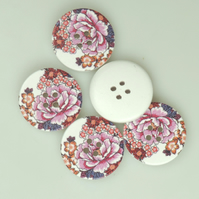 Chrysanthemum Flower, 30mm, 3cm Round wooden buttons, Craft, Large Buttons, x 5