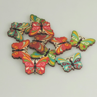 Colourful Butterfly wooden buttons, Craft Supplies, mixed colours, x 5